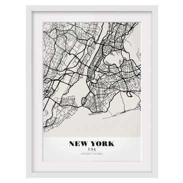 Product picture Framed print - New York City Map -...