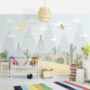Product picture Photo Wall Mural - Tepee With Cacti -...