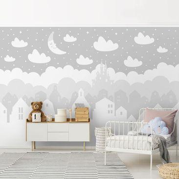 Produktfoto Tapete selbstklebend - Sternenhimmel mit Häusern und Mond in grau - Wandbild Querformat