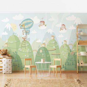 Produktfoto Tapete selbstklebend - Wald mit Häusern und Tieren - Wandbild Querformat