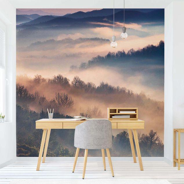 Produktfoto Vliestapete - Nebel bei Sonnenuntergang - Fototapete Quadrat