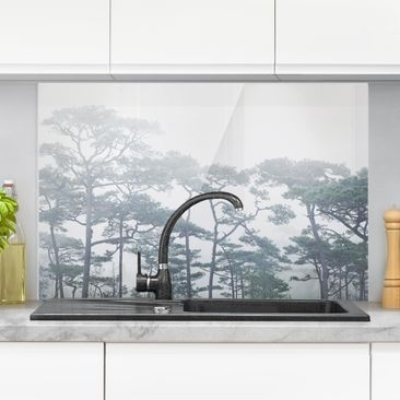 Product picture Glass Splashback - Treetops In Fog -...