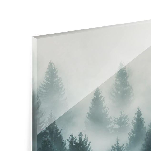 Immagine del prodotto Paraschizzi in vetro - Foresta di conifere nella nebbia - Orizzontale 2:3