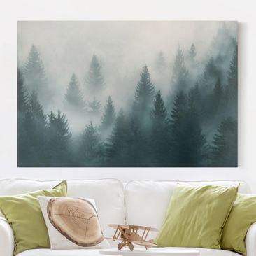 Produktfoto Leinwandbild - Nadelwald im Nebel - Querformat 2:3, vergrößerte Ansicht in Wohnambiente, Artikelnummer 230138-XWA