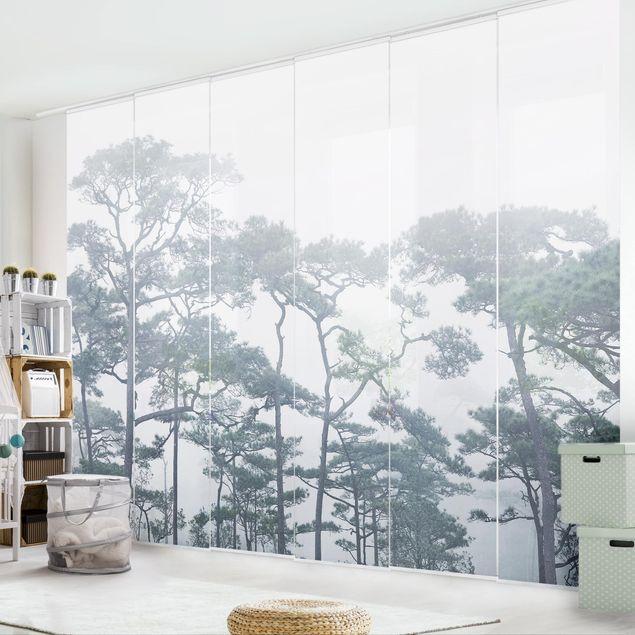 Produktfoto Schiebegardinen Set - Baumkronen im Nebel - 6 Flächenvorhänge