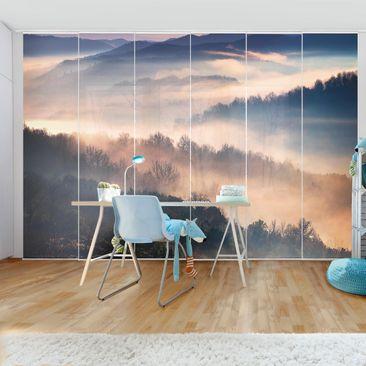 Produktfoto Schiebegardinen Set - Nebel bei Sonnenuntergang - 6 Flächenvorhänge