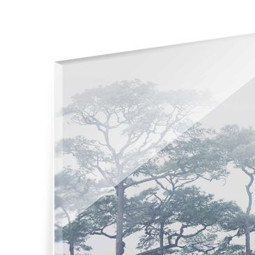 Product picture Print on Glass - Treetops In Fog - Glass...