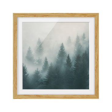 Product picture Framed print - Coniferous Forest In Fog...