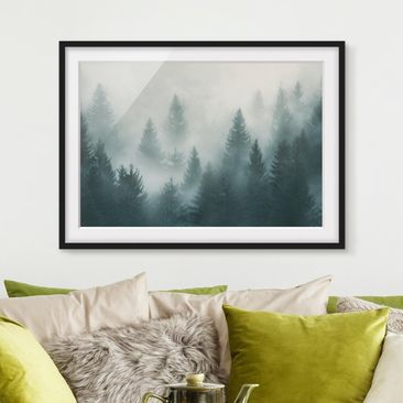Produktfoto Framed print - Coniferous Forest In Fog...