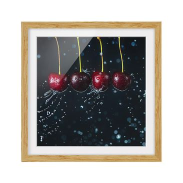 Product picture Framed print - Fresh Cherries - Square...