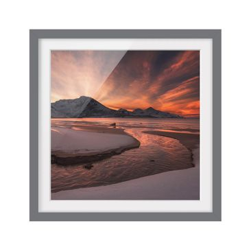 Product picture Framed print - Golden Sunset - Square...