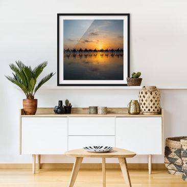 Product picture Framed print - Camels In Sunset - Square...