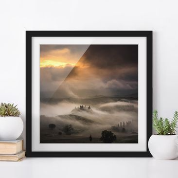 Product picture Framed print - Fog Waves - Square Format...