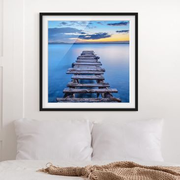 Product picture Framed print - Pier Into The Calm Sea -...