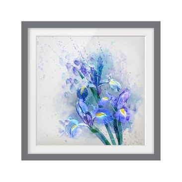 Product picture Framed print - Watercolor Flowers Iris -...