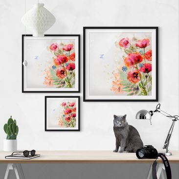 Product picture Framed print - Watercolor Poppy Flowers...