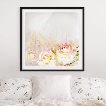 Product picture Framed print - Watercolor Flowers Roses...