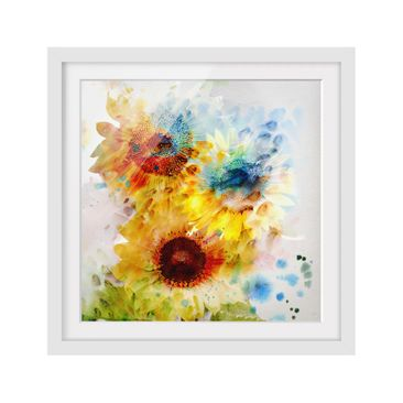 Product picture Framed print - Watercolor Sunflowers -...