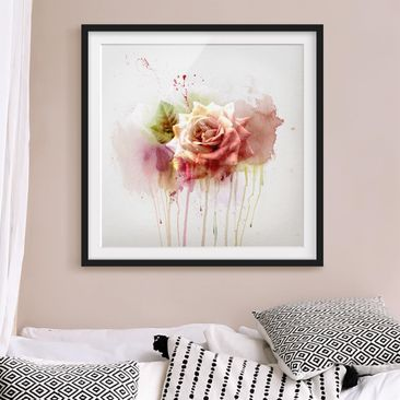 Product picture Framed print - Watercolor Rose - Square...
