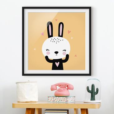 Product picture Framed print - The Happy Bunny - Square...