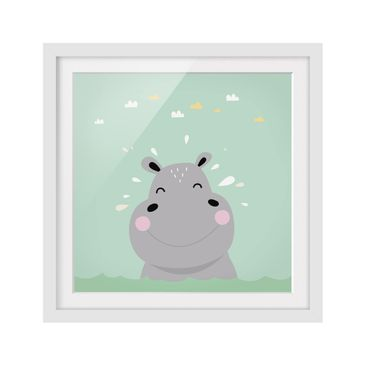 Product picture Framed print - The Happy Hippo - Square...