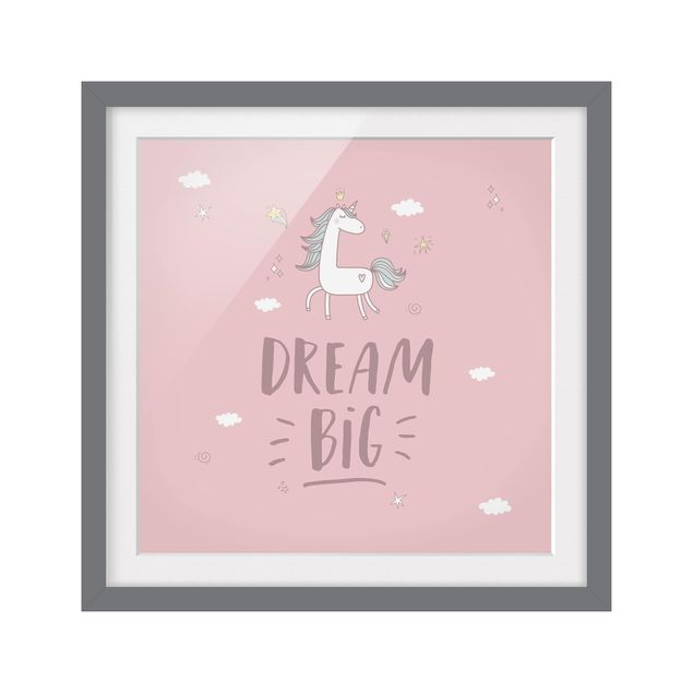 Produktfoto Bild mit Rahmen - Dream big Unicorn - Quadrat 1:1