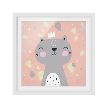 Product picture Framed print - Cheeky Cat - Square...