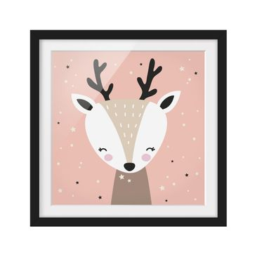 Product picture Framed print - Happy Deer - Square...