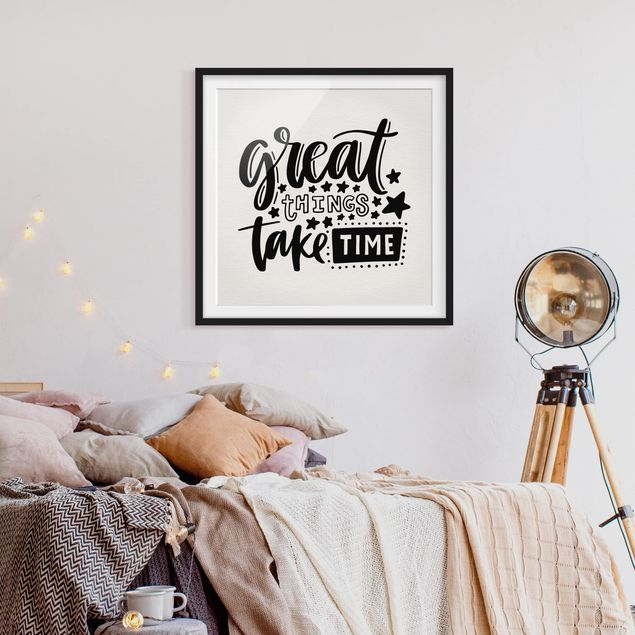 Produktfoto Bild mit Rahmen - Great things take time - Quadrat 1:1