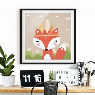 Product picture Framed print - Indians Fox - Square...