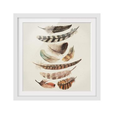 Product picture Framed print - Nine Feathers - Square...