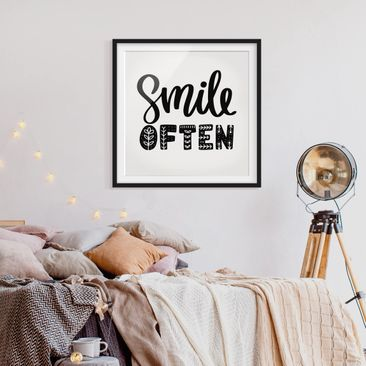 Product picture Framed print - Smile Often - Square...