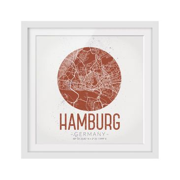 Product picture Framed print - Hamburg City Map - Retro...