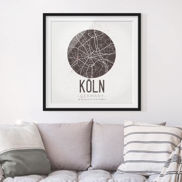 Product picture Framed print - Cologne City Map - Retro...