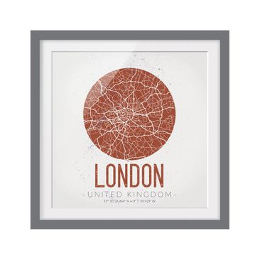 Product picture Framed print - London City Map - Retro -...