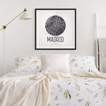 Product picture Framed print - Madrid City Map - Retro -...