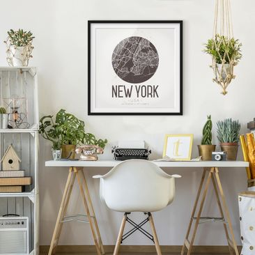 Product picture Framed print - New York City Map - Retro...