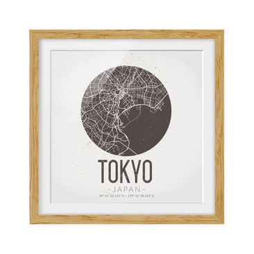 Product picture Framed print - Tokyo City Map - Retro -...