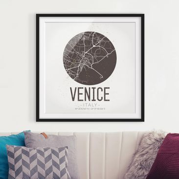 Product picture Framed print - Venice City Map - Retro -...