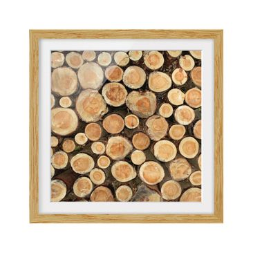 Product picture Framed print - No.Yk18 Logs - Square...