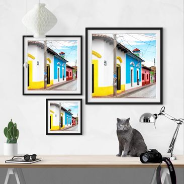 Product picture Framed print - Colored Road - Square...