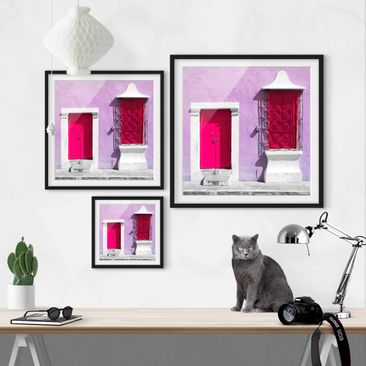 Product picture Framed print - Pink Facade Pink Door -...