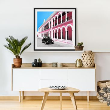 Product picture Framed print - Black Beetle Pink Facade...