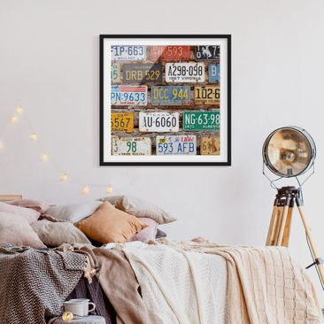 Product picture Framed print - American License Plates...