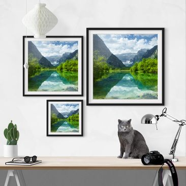 Product picture Framed print - Mountain Lake With...