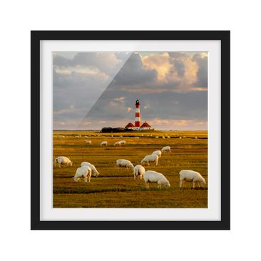 Product picture Framed print - North Sea Lighthouse With...
