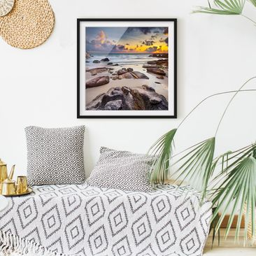 Product picture Framed print - Beach With Sunrise In...