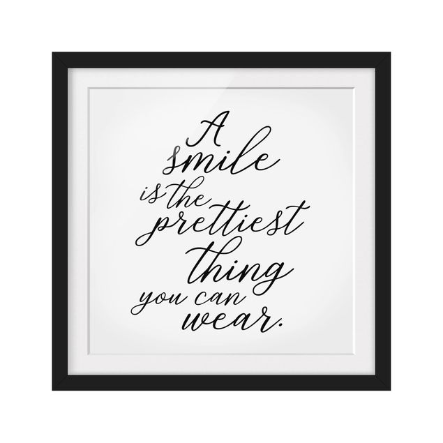 Produktfoto Bild mit Rahmen - A smile is the prettiest thing - Quadrat 1:1