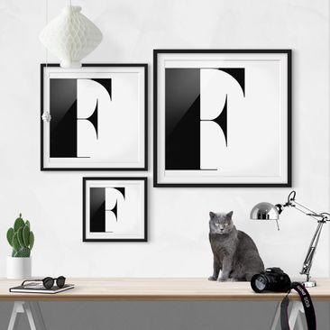 Product picture Framed print - Antiqua Letter F - Square...