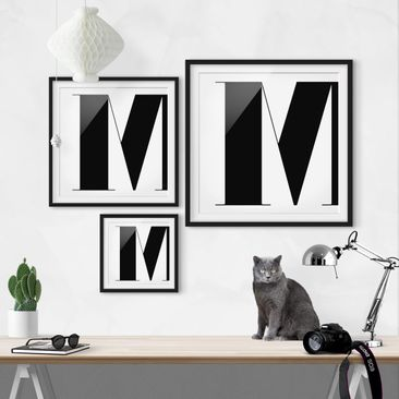 Product picture Framed print - Antiqua Letter M - Square...